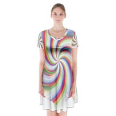 Prismatic Hole Rainbow Short Sleeve V Neck Flare Dress