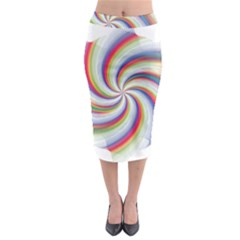Prismatic Hole Rainbow Midi Pencil Skirt