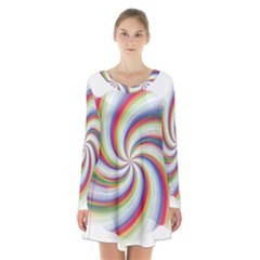 Prismatic Hole Rainbow Long Sleeve Velvet V Neck Dress