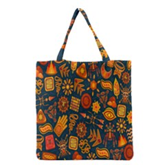 Tribal Ethnic Blue Gold Culture Grocery Tote Bag