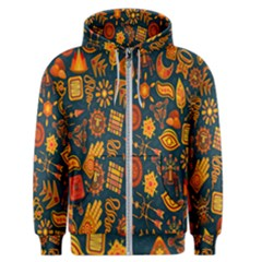 Tribal Ethnic Blue Gold Culture Men s Zipper Hoodie