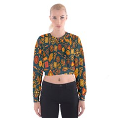 Tribal Ethnic Blue Gold Culture Cropped Sweatshirt by Mariart