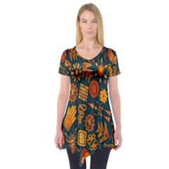 Tribal Ethnic Blue Gold Culture Short Sleeve Tunic  by Mariart