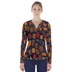 Tribal Ethnic Blue Gold Culture V Neck Long Sleeve Top