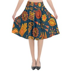 Tribal Ethnic Blue Gold Culture Flared Midi Skirt by Mariart