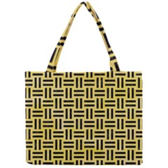 Woven1 Black Marble & Yellow Watercolor Mini Tote Bag by trendistuff