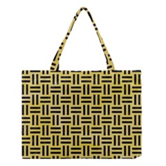 Woven1 Black Marble & Yellow Watercolor Medium Tote Bag by trendistuff