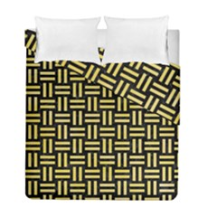 Woven1 Black Marble & Yellow Watercolor (r) Duvet Cover Double Side (full/ Double Size) by trendistuff