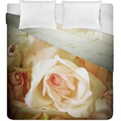 Roses Vintage Playful Romantic Duvet Cover Double Side (king Size) by Celenk