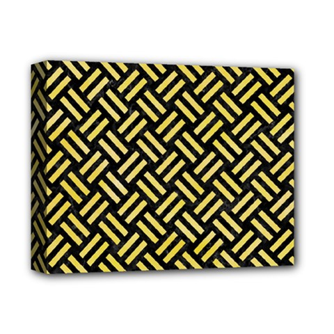 Woven2 Black Marble & Yellow Watercolor (r) Deluxe Canvas 14  X 11  by trendistuff