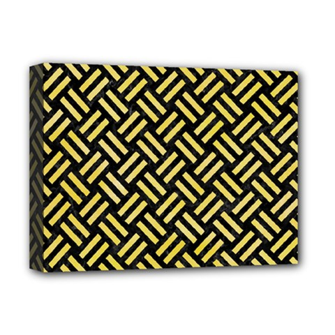 Woven2 Black Marble & Yellow Watercolor (r) Deluxe Canvas 16  X 12   by trendistuff