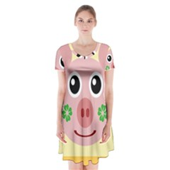 Luck Lucky Pig Pig Lucky Charm Short Sleeve V Neck Flare Dress by Celenk
