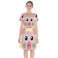 Luck Lucky Pig Pig Lucky Charm Short Sleeve Bardot Dress by Celenk