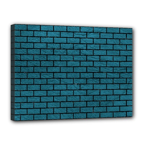 Brick1 Black Marble & Teal Leather Canvas 16  X 12  by trendistuff