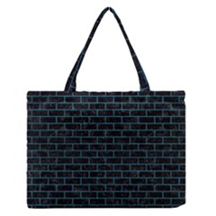 Brick1 Black Marble & Teal Leather (r) Zipper Medium Tote Bag by trendistuff