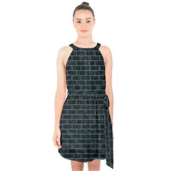 Brick1 Black Marble & Teal Leather (r) Halter Collar Waist Tie Chiffon Dress