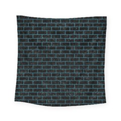 Brick1 Black Marble & Teal Leather (r) Square Tapestry (small) by trendistuff