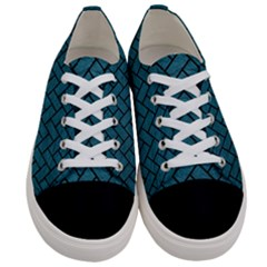 Brick2 Black Marble & Teal Leather Women s Low Top Canvas Sneakers