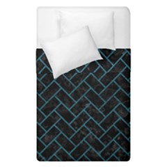 Brick2 Black Marble & Teal Leather (r) Duvet Cover Double Side (single Size) by trendistuff
