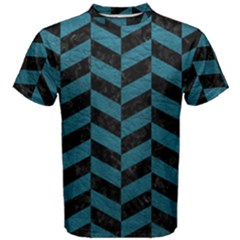Chevron1 Black Marble & Teal Leather Men s Cotton Tee by trendistuff