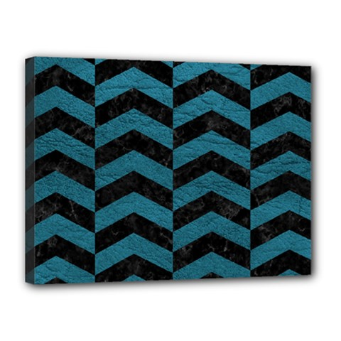 Chevron2 Black Marble & Teal Leather Canvas 16  X 12