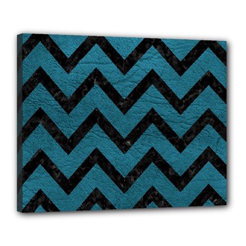 Chevron9 Black Marble & Teal Leather Canvas 20  X 16  by trendistuff