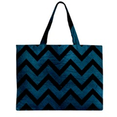 Chevron9 Black Marble & Teal Leather Zipper Mini Tote Bag by trendistuff