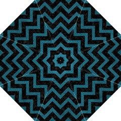 Chevron9 Black Marble & Teal Leather (r) Folding Umbrellas by trendistuff