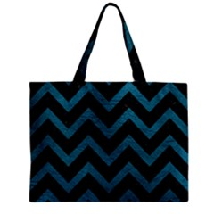 Chevron9 Black Marble & Teal Leather (r) Zipper Mini Tote Bag by trendistuff