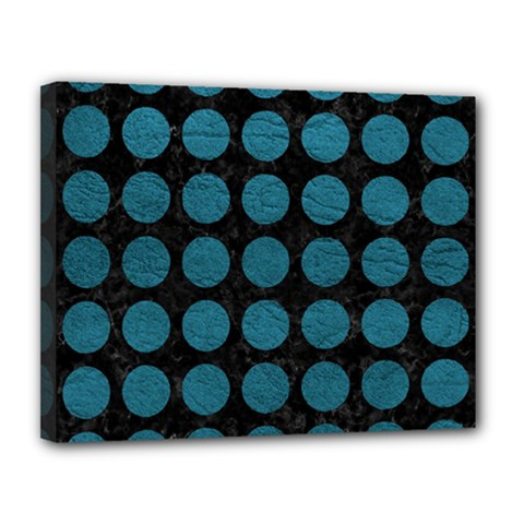 Circles1 Black Marble & Teal Leather (r) Canvas 14  X 11  by trendistuff