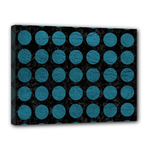 Circles1 Black Marble & Teal Leather (r) Canvas 16  X 12  by trendistuff