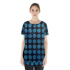 Circles1 Black Marble & Teal Leather (r) Skirt Hem Sports Top