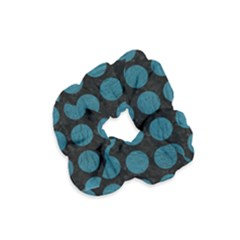 Circles1 Black Marble & Teal Leather (r) Velvet Scrunchie