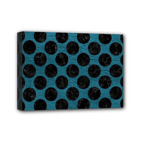 Circles2 Black Marble & Teal Leather Mini Canvas 7  X 5  by trendistuff