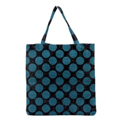 Circles2 Black Marble & Teal Leather (r) Grocery Tote Bag by trendistuff