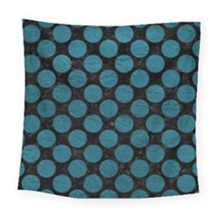 Circles2 Black Marble & Teal Leather (r) Square Tapestry (large)