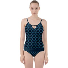 Circles3 Black Marble & Teal Leather Cut Out Top Tankini Set
