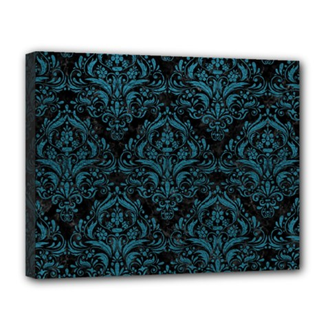 Damask1 Black Marble & Teal Leather (r) Canvas 14  X 11  by trendistuff