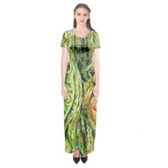 Chung Chao Yi Automatic Drawing Short Sleeve Maxi Dress by Celenk