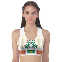 Christmas Tree Present House Star Sports Bra