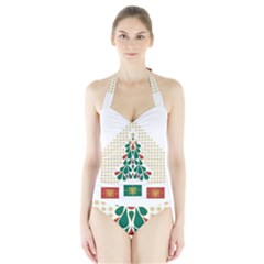 Christmas Tree Present House Star Halter Swimsuit by Celenk