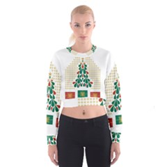 Christmas Tree Present House Star Cropped Sweatshirt