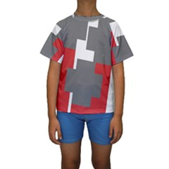 Cross Abstract Shape Line Kids  Short Sleeve Swimwear