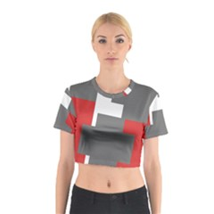 Cross Abstract Shape Line Cotton Crop Top