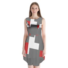 Cross Abstract Shape Line Sleeveless Chiffon Dress