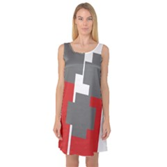 Cross Abstract Shape Line Sleeveless Satin Nightdress by Celenk