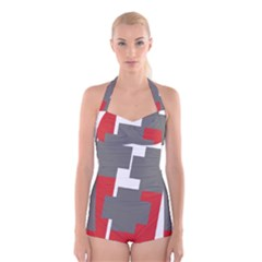 Cross Abstract Shape Line Boyleg Halter Swimsuit
