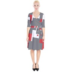 Cross Abstract Shape Line Wrap Up Cocktail Dress