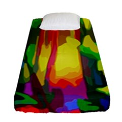 Abstract Vibrant Colour Botany Fitted Sheet (single Size)