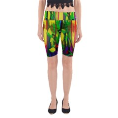 Abstract Vibrant Colour Botany Yoga Cropped Leggings